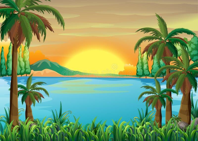 Взгляд глубокого голубого озера иллюстрация вектора