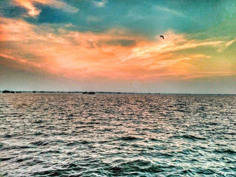 Взгляд захода солнца на vagan запруде стоковое фото rf