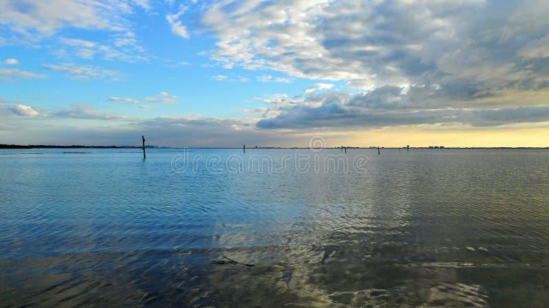 Взгляд захода солнца Флориды юго-западный, пляжи стоковая фотография rf