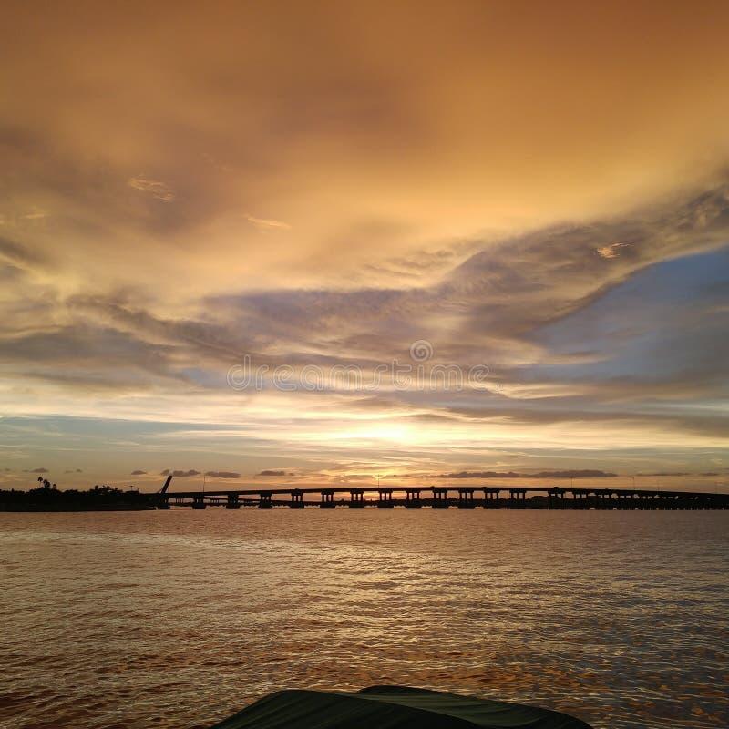 Взгляд захода солнца Флориды юго-западный, пляжи стоковая фотография