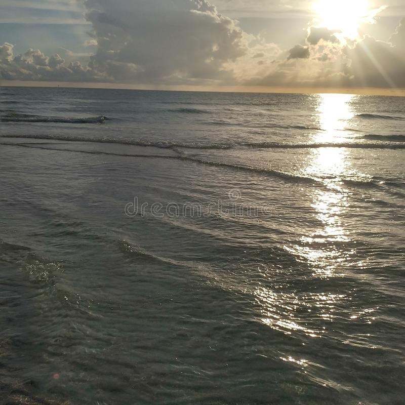Взгляд захода солнца Флориды юго-западный, пляжи стоковые фото