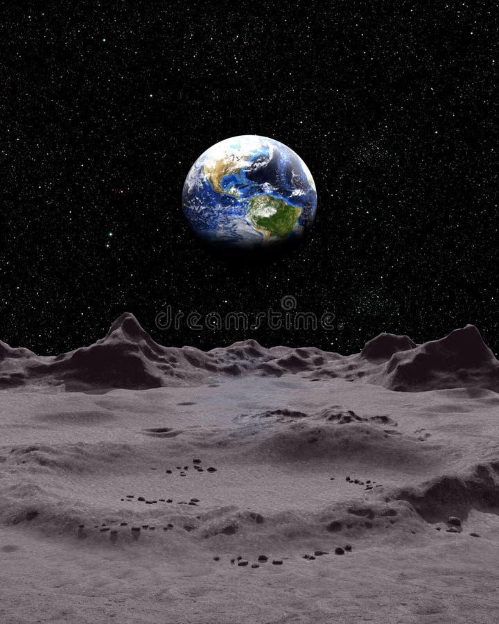 Взгляд земли от поверхности луны бесплатная иллюстрация