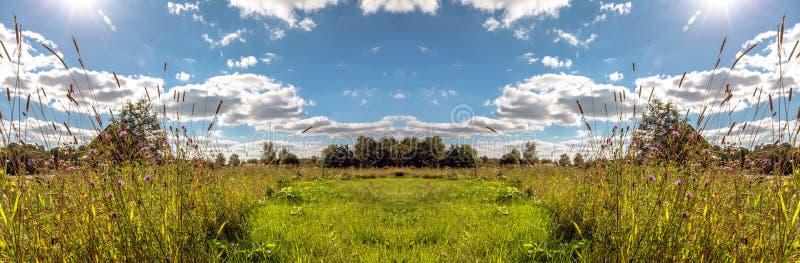 Взгляд зеркального отображения ландшафта деревни под солнечным голубым небом в лете стоковая фотография