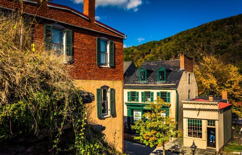 Взгляд зданий в пароме арфиста, Западной Вирджинии стоковое фото