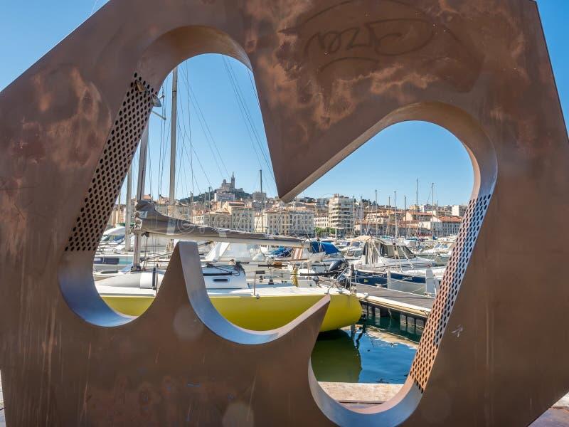 Взгляд дизайна искусства старого порта марселя стоковое изображение