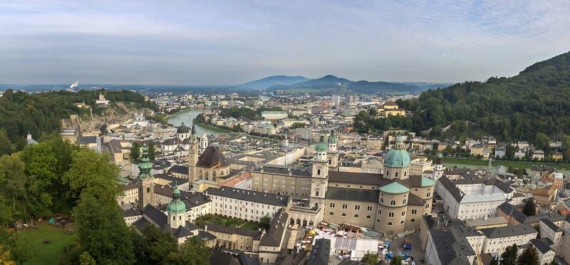 Взгляд исторического города Зальцбурга, земли Salzburger стоковое фото