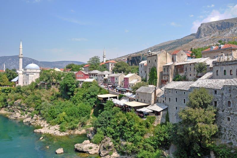 Взгляд исторического центра старого городка Мостара, Боснии стоковое фото rf