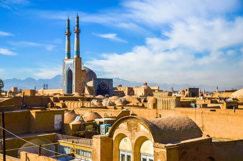 Взгляд исторического центра Yazd стоковые фотографии rf