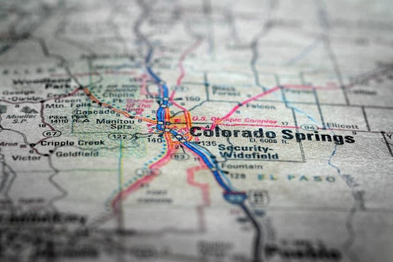 Взгляд карты для перемещения к весне Colrado положений и назначений стоковые изображения rf
