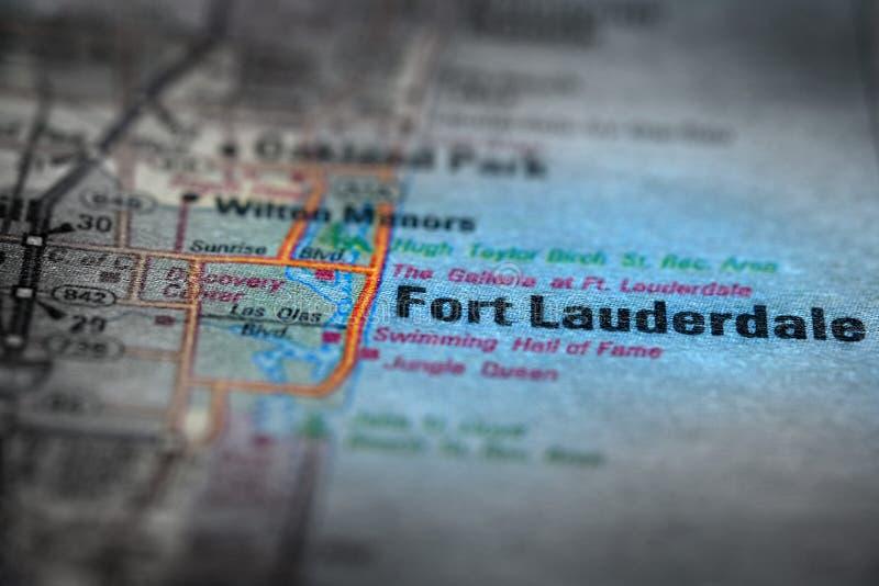 Взгляд карты для перемещения к положениям и форту Lauderdal назначений стоковая фотография
