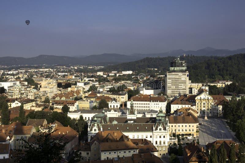 Взгляд квадрата Любляны и конгресса сверху стоковое изображение