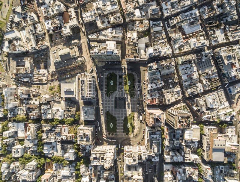 Взгляд квадрата независимости сверху, Монтевидео, Уругвай стоковое фото rf
