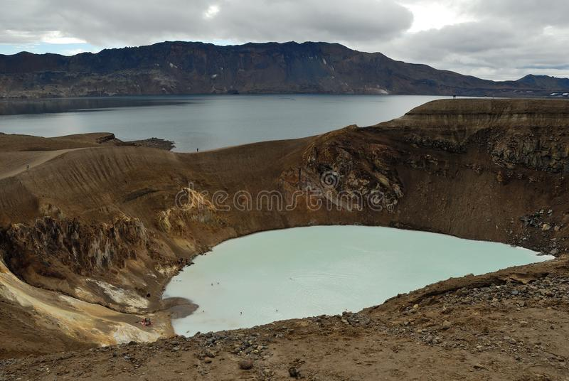 Взгляд кратера Viti, Askja, Исландии стоковое изображение