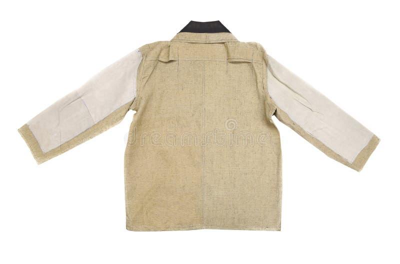 Взгляд куртки людей хлопка белый и бежевый задний стоковое изображение