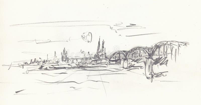 Взгляд Кёльн Рейна стоковое фото rf