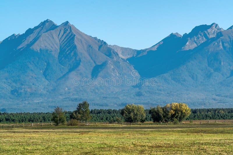 Взгляд к горной цепи восточного Sayan стоковые фото