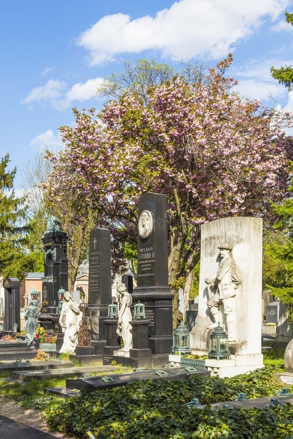 Взгляд к кладбищу вены центральному, месту где известные люди стоковые фотографии rf