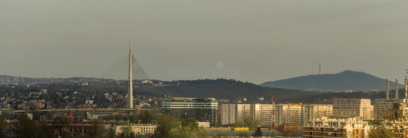 Взгляд к мосту Белграда новым и горе Avala стоковые фотографии rf