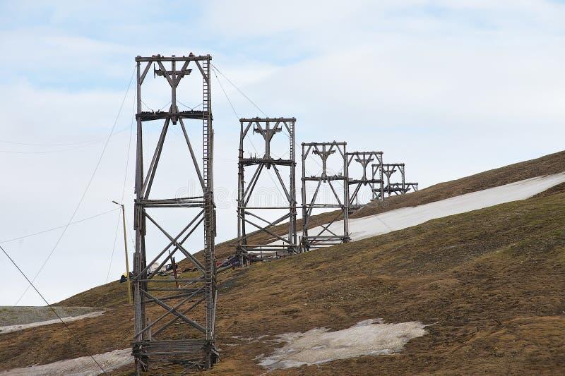 Взгляд к покинутому ледовитому оборудованию угольной шахты в Longyearbyen, Норвегии стоковая фотография