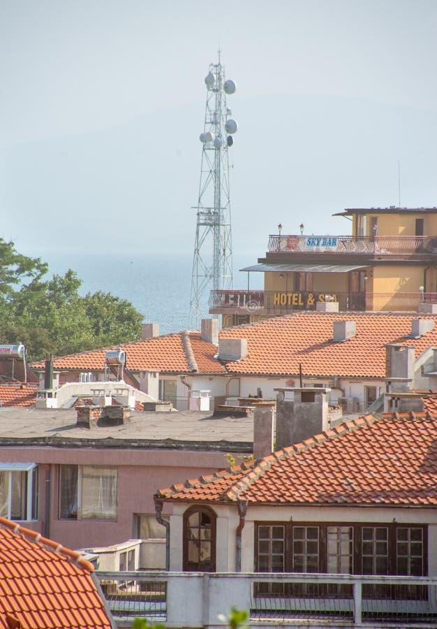 Взгляд маяка Pomorie сверху, Болгария стоковые фотографии rf