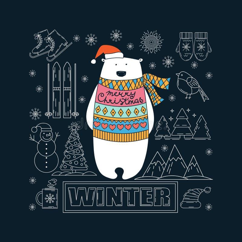 взгляд медведя приполюсный небо klaus santa заморозка рождества карточки мешка иллюстрация вектора