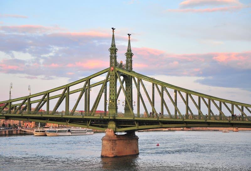 Взгляд моста свободы в центре Будапешта стоковые изображения