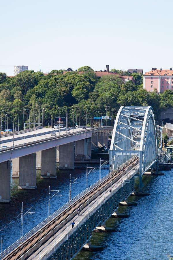 Взгляд 2 мостов Lidingo Стокгольма стоковое фото rf