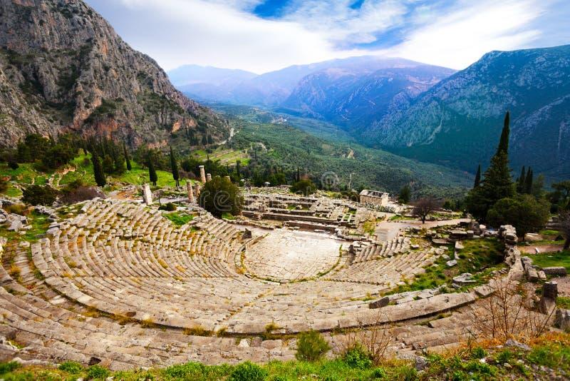 Взгляд на амфитеатре, Дэлфи стоковые изображения