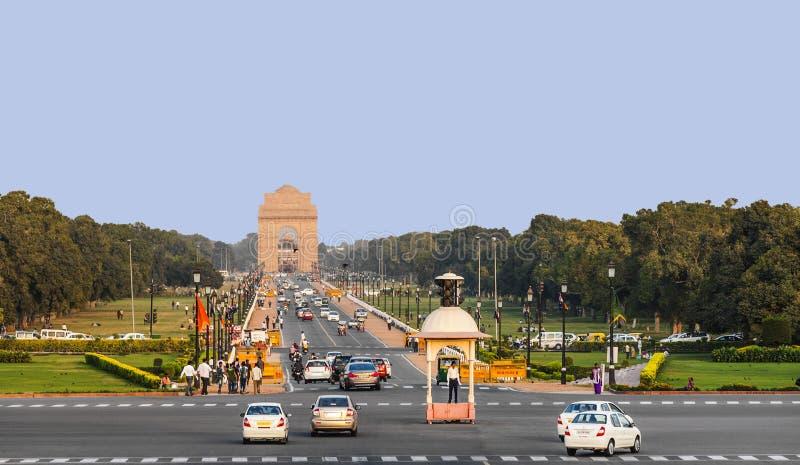 Взгляд на бульваре Rajpath к Индии стоковое фото rf