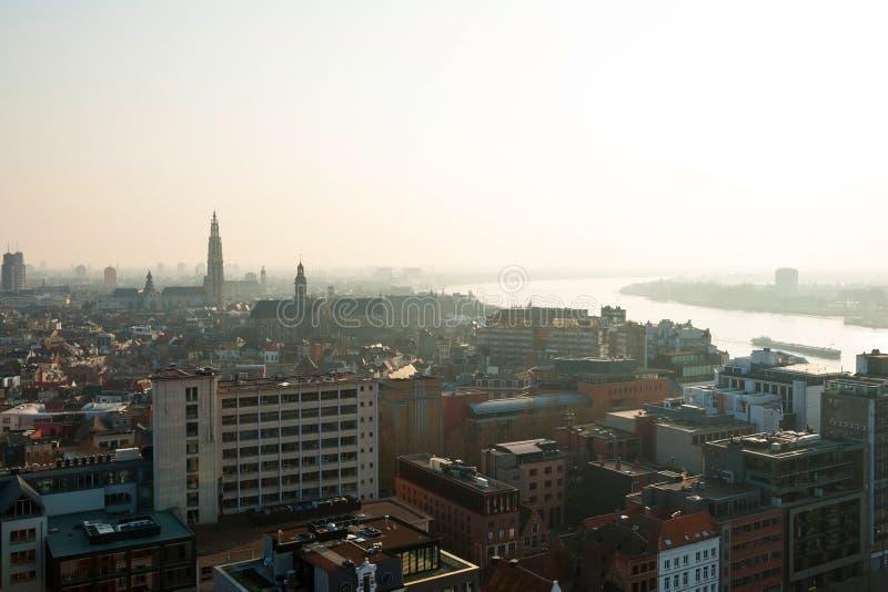Взгляд над городом Антверпена, Бельгией стоковое изображение rf