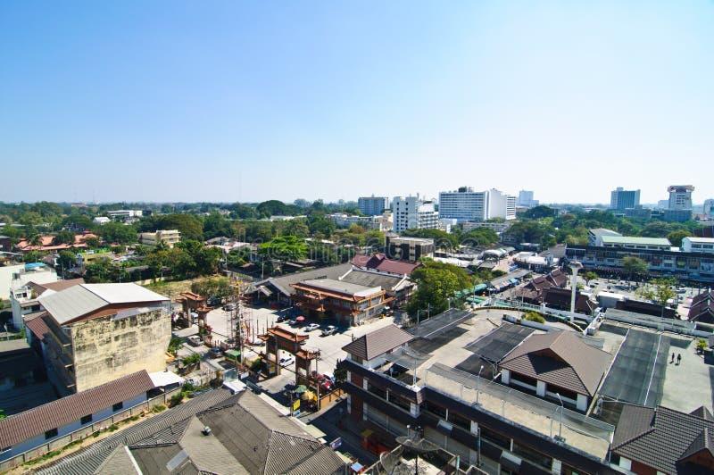 Взгляд над городом в Changmai Таиланда стоковые фотографии rf