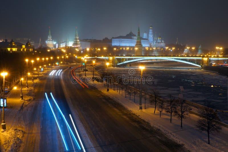 Взгляд на Москве Кремле от патриархального моста стоковая фотография rf