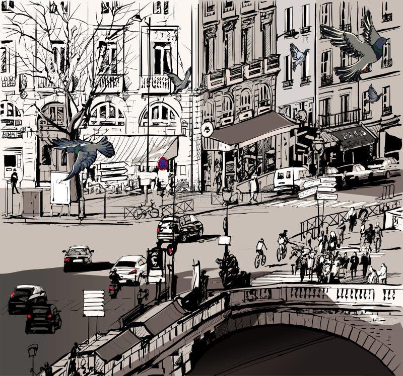 Взгляд над мостом Мишеля Святого в Париже иллюстрация штока