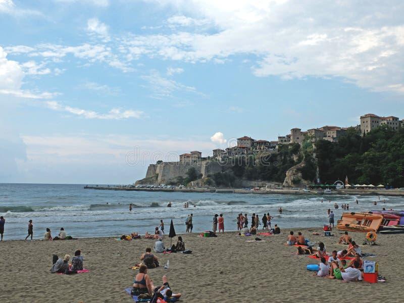 Взгляд на пляже города стоковые фотографии rf