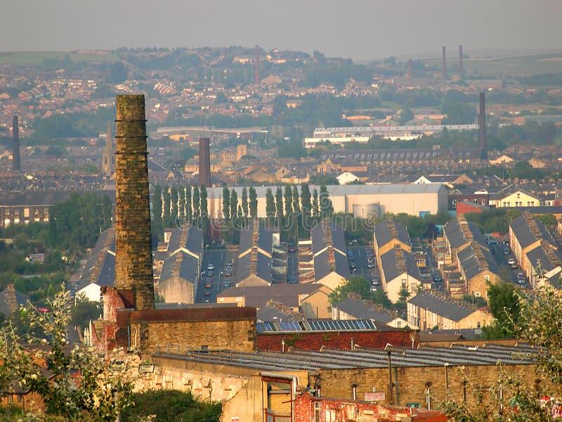 Взгляд над старым городком хлопка Burnley Lancashire стоковая фотография rf