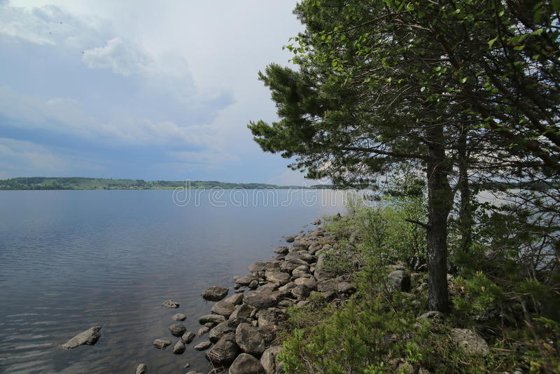 Взгляд над шведским озером Hammerdalssjoen около Hammerdal стоковое изображение rf