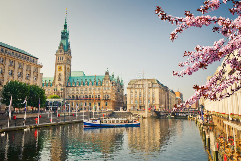 Взгляд на townhall Гамбурга на весне стоковое изображение