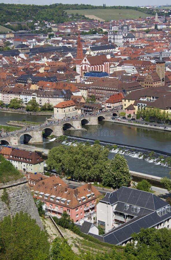 Взгляд над Wurzburg, Германией стоковое изображение rf