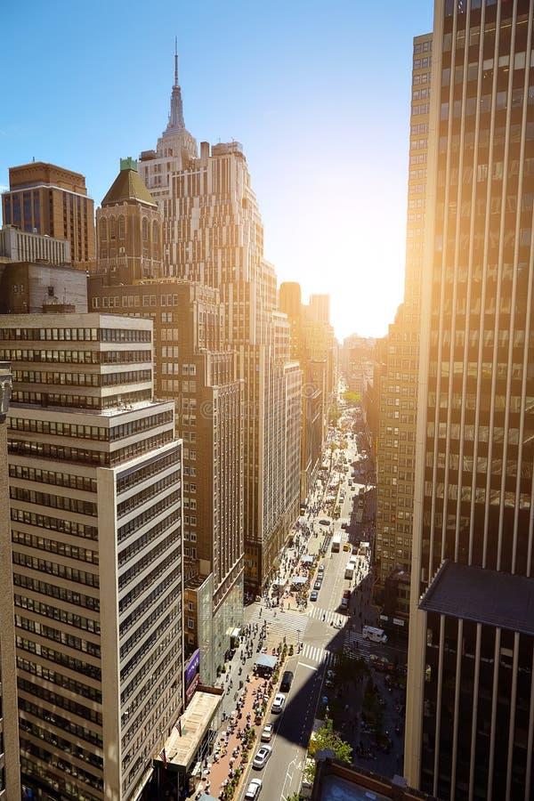 Взгляд небоскребов в Манхаттане, Нью-Йорке стоковая фотография
