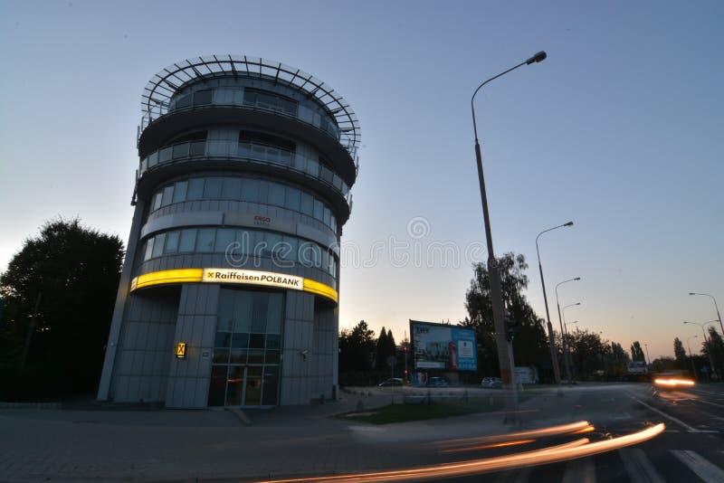 Взгляд ночи города Люблина стоковые фотографии rf