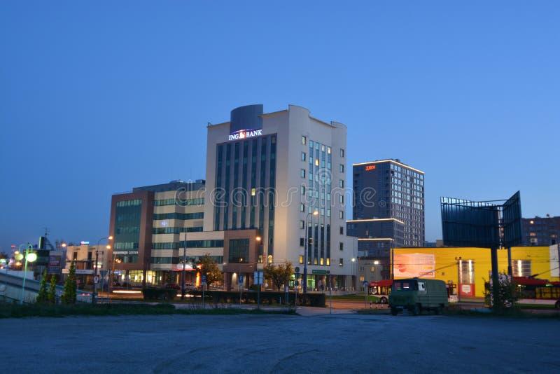 Взгляд ночи города Люблина стоковое фото rf