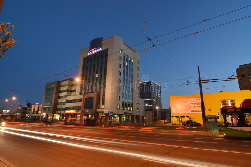 Взгляд ночи города Люблина стоковые изображения rf