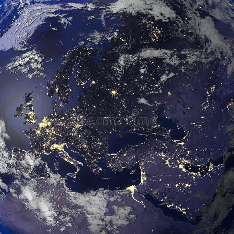 Взгляд ночи земли от перевода космоса 3d бесплатная иллюстрация