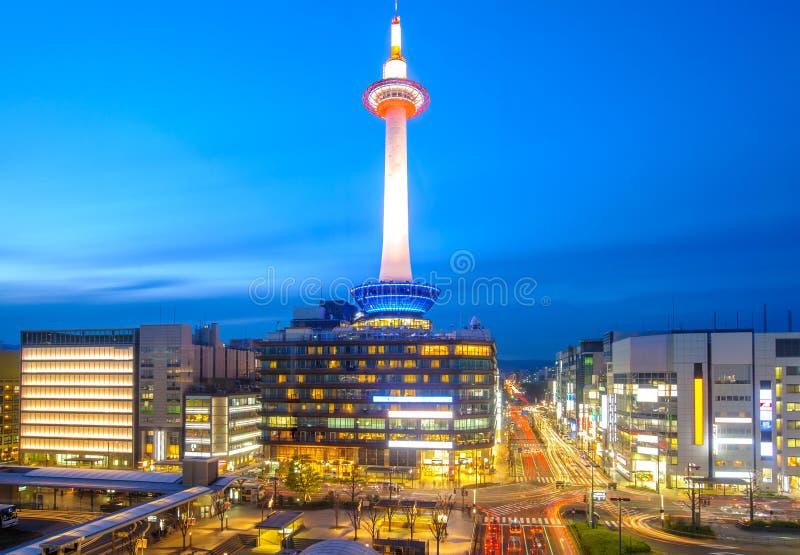 Взгляд ночи Киото, Японии стоковые изображения