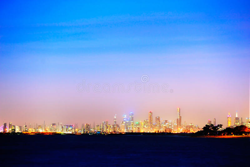 Взгляд ночи Мельбурна стоковое изображение rf