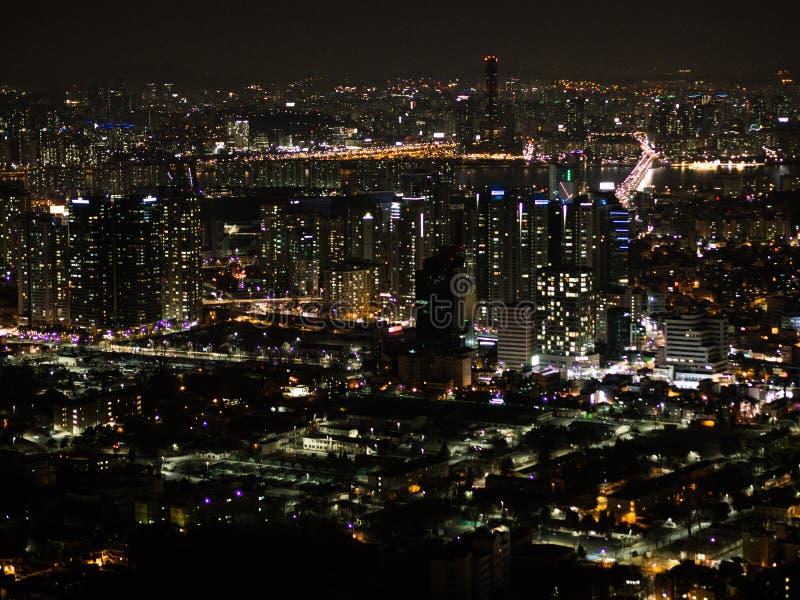 Взгляд ночи Сеула стоковая фотография rf