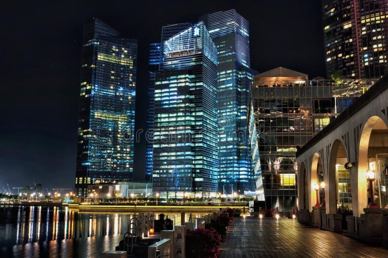 Взгляд ночи Сингапура стоковое изображение