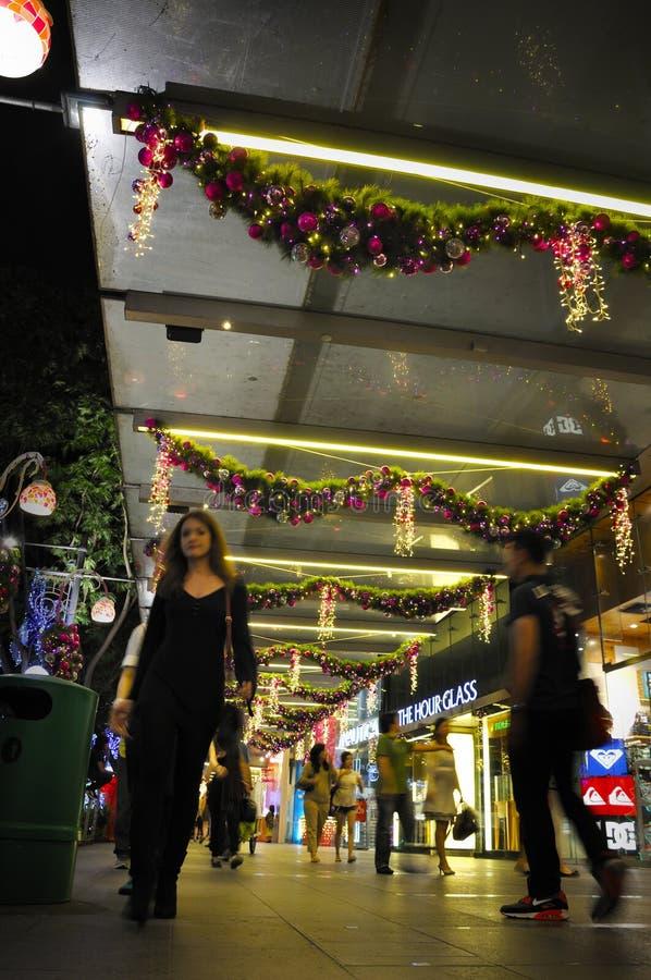 Взгляд ночи украшения рождества на дороге сада Сингапура стоковые изображения rf