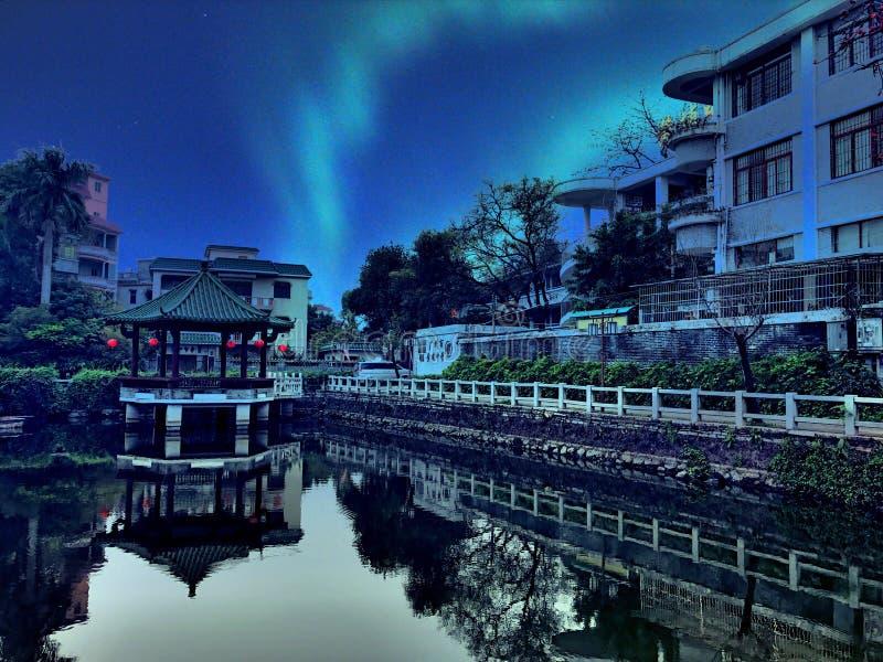Взгляд ночи фарфора Гуанчжоу стоковое изображение