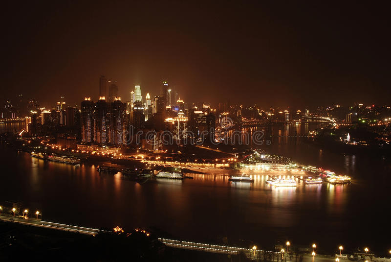 Взгляд ночи Чунцина стоковые фото